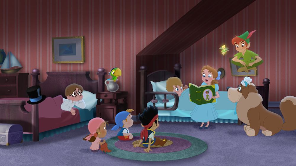 JOHN DARLING, IZZY, SKULLY, CUBBY, JAKE, MICHAEL DARLING, WENDY DARLING, TINKER BELL, PETER PAN, NANA